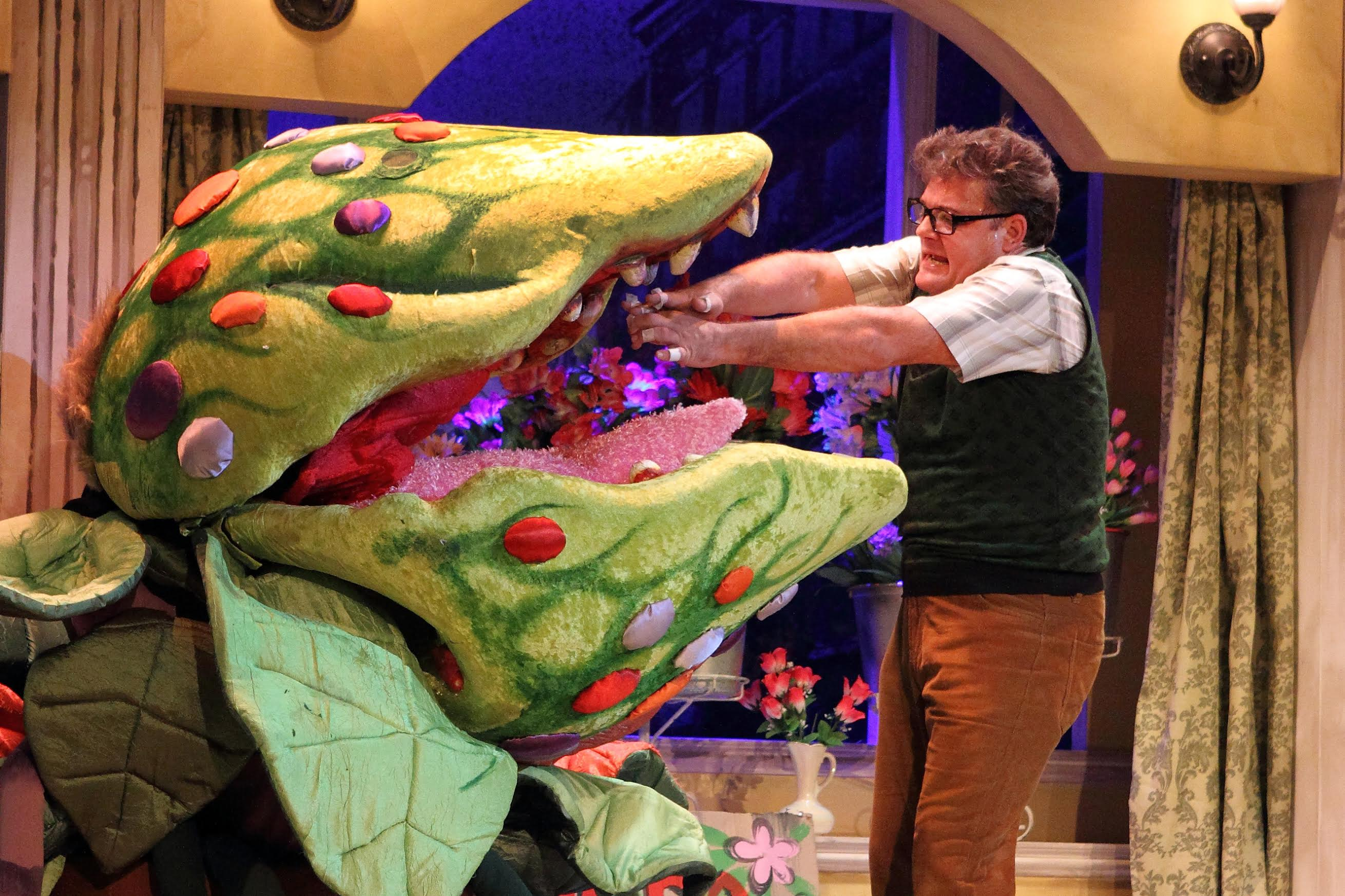 Seymour (Alan Committie) feeds his bloodthirsty creation, Audrey II.