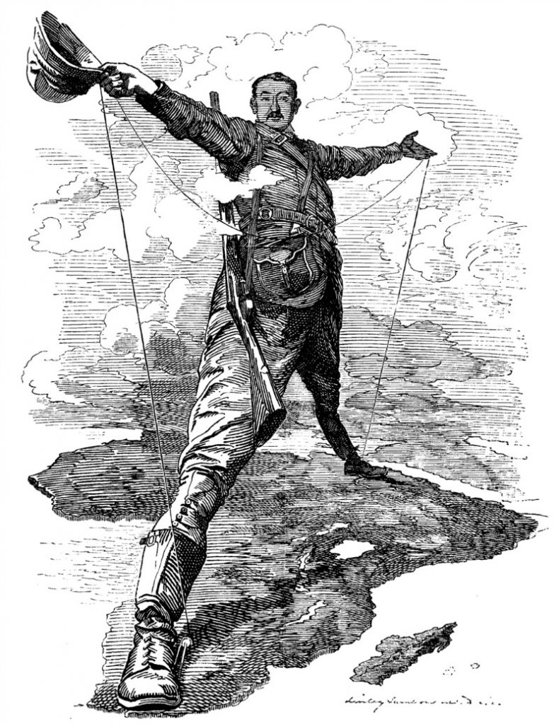"""The Rhodes Colossus"" - the famous 1892 cartoon by Edward Linley Sambourne following Rhodes's announcement he wants to establish the Cape to Cairo telegraph line."
